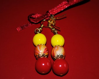 Vintage Handmade Yellow, Red, Chinese-Inspired Earrings