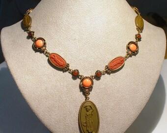 EXTASIA Lava CAMEO Glass Sautoir Necklace
