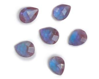 Vintage Saphiret facetted doublet stones - un-foiled - pear - 7x5 mm - 1 piece - C51