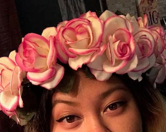 Pink lined White Rose Flower Crown