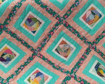 pink and green crazy quilt for baby