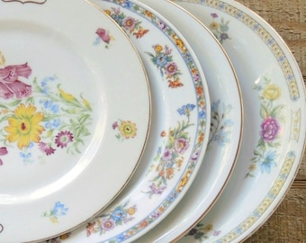 Vintage Mismatched Dinner Plates Set of 4 Lunch Plates Tea Party, French Country Wedding Bridal, Replacement China