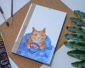 Chat café aquarelle carnet de notes à la main, couverture rigide journal, Illustration, carnet, carnet de croquis, journal intime, cadeau, 21 × 14.8