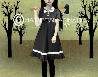 Lizzie Borden | Lolita Art Print | Lolita And Axe | Femme Fatale | Goth Girl | Art Print | Spite
