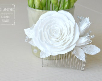 White rose hair comb White wedding hair comb Flower comb Hair jewelry Classic Wedding accessories Crystal hair comb Bridal flower hair piece