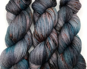 "Hand Dyed Yarn ""Slated"" Grey Blue Teal Brown Rust Black Orange Copper Polwarth Fingering Superwash 438yds 100g"