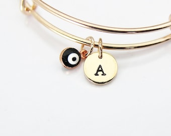 Rose Gold Evil Eye Bracelet, Evil Eye Bangle, Tiny Evil Eye Charm, Kabbalah Jewish Gift, Luck Gift Protective Gift, Personalized Gift, E17
