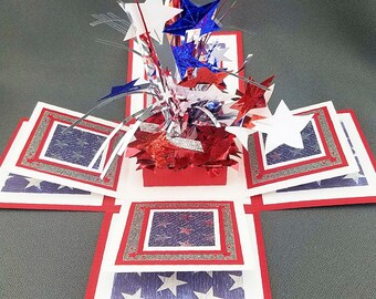 Handmade Fourth of July  Exploding Box Card 3