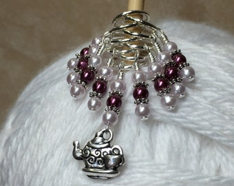 Teapot Stitch Marker Set - Snag Free Beaded Knitting Stitch Markers - Gift for Knitters- Knitting Jewelry