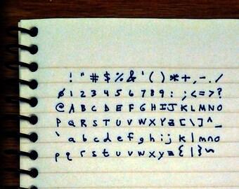 handwritten ascii deluxe