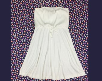 80's all white polyester jersey disco tie strap dress 1980's sexy Miami beach wedding sun dress / Studio 54 / Barbie / tank dress 12 L XL