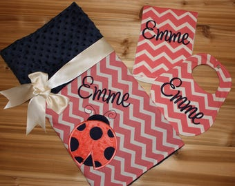 Coral and Navy Ladybug Gift Set- Personalized Baby Minky Blanket and Bib & Burp Cloth