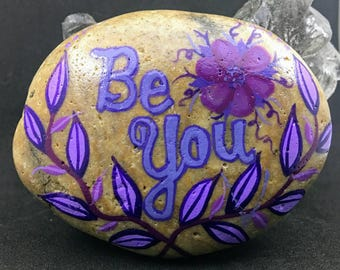 Be You floral and vines purple tones hand painted rock