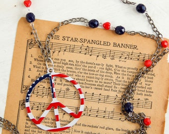 Upcycled vintage independence day necklace / peace necklace / 4th of July jewelry / patriotic necklace / Independence day jewelry / ooak