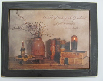 Primitive Wall Decor,Crock,Primitive Candles,Old Books,Billy Jacobs,181/2x141/2,Handmade Distressed Frame