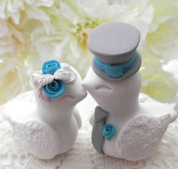 Love Birds Wedding Cake Topper, White, Turquoise and Grey, Bride and Groom Keepsake, Fully Customizable