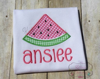 Watermelon Applique Shirt - Girl's Applique Shirt, Personalized, Watermelon, Gingham Applique, Summer Shirt, Girl's Shirt, Monogrammed