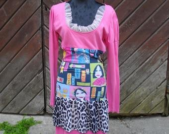 Sale 50 % OFF/Grazy Art fanky dress/OOAK//size 38 unique,ecofriendly/ailidesign/to Wear dress BASKET/Boho/Hippie