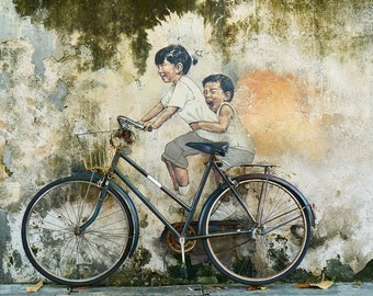 Children On A Bicycle Wall Art | Graffiti Of A Children On A Bicycle | Wall decor | Wall Art | Children On A Bicycle Wall Decor