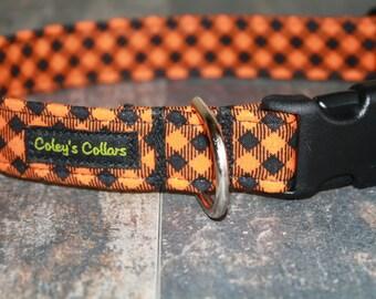 "Dog Collar Halloween, Fall Dog Collar, Plaid Dog Collar, Gingham Dog Collar, Boy Dog Collar, Girl Dog Collar,   ""The Pumpkin Plaid"""