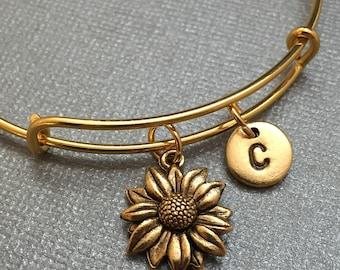 Sunflower bangle, sunflower charm bracelet, expandable bangle, charm bangle, personalized bracelet, initial bracelet, monogram