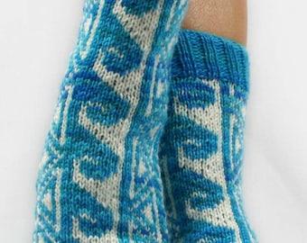 KNITTING PATTERN for  Hawaiian Tattoo Socks - Sock pattern - Charted pattern - digital download - Colorwork pattern - Stranded knitting