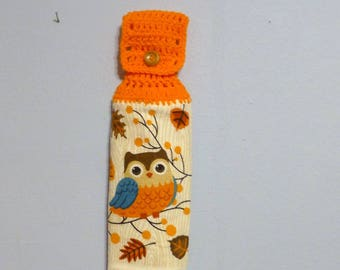 Hanging Kitchen Towel Crochet Top Double Layered Towel Owl Fall Leafs