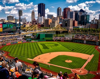 PNC park Printed on Canvas, Pittsburgh skyline, Large Pittsburgh Pirates Print, Pittsburgh wall art, Canvas gifts, art