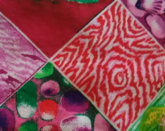 "QUILT SQUARES PRECUT/ 5""x 5"" Squares/ 6 Different Patterns/ From 4 To 16 Squares Per Pattern/ Total Squares38/ Batik Pur/Pink/Plain, Floral"