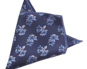 Navy Blue Floral Pocket Square | floral handkerchief | floral wedding | mens handkerchief| wedding ideas | rose pocket square