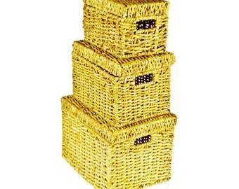 Wicker Nesting Storage Boxes - Set of 3