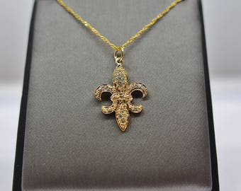Sterling Silver Gold Fleur Di Lis Pendant Necklace