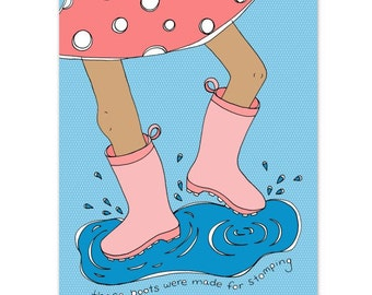 These Boots Were Made For Stomping  8.5 x 11 Kids Art Print - Pastel Colors - Rain Boots Puddle  - Girl Decor - Customizable Kids Wall Art