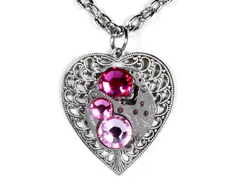 Steampunk Jewelry Necklace Watch Silver Filigree HEART Pink Fuchsia Crystal GIRLFRIEND Bridesmaids VALENTINE Gift Women - Steampunk Boutique