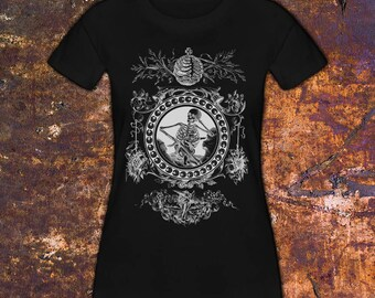 CAGED - Women's T-Shirt, Skeleton and Angel, Death, Morbid Clothing, Gothic Tees, Alternative Fashion, Street Goth Style, Black Everything