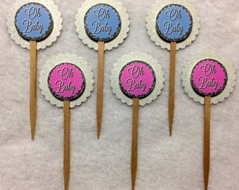 Set Of 12 Baby Shower Gender Reveal Oh Baby Cupcake Toppers (Your Choice Of Any 12)