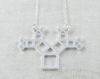 1, Pythagoras Theorem, Mathematics, Math Charm, Geometry, Geometry Charm, Pythagoras Pendant, Geometric, Geometry Pendant, NEC035-S