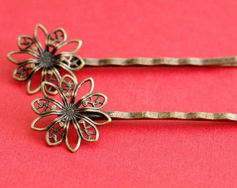 12pcs Antique Bronze Bobby Pins With Flower Pad