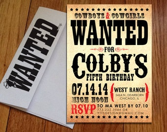 Cowboy - Wild West Birthday Invitations with Custom Printed Envelopes