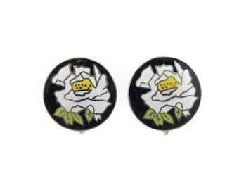 Vintage Japanese, Cloisonne Earrings, White Flowers, Screw Backs
