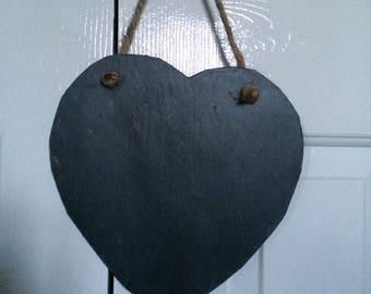 2 x large 25cm handmade natural slate hanging heart chalkboard shabby chic style