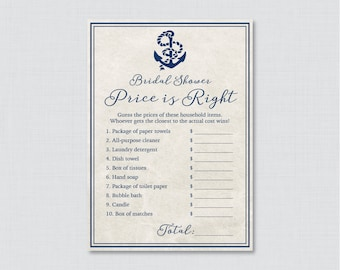 Nautical Bridal Shower Price is Right Game - Printable Navy Anchor Bridal Shower Price is Right - Nautical Bridal Shower 0011
