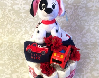 Baby Boy one tier Firefighter themed Diaper Cake - an adorable baby shower gift, available now