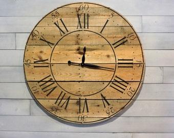 "Rustic Clock,Farmhouse Clock ,Fixer Upper Clock WoodenClock  Handmade Clock,Big Wall Clock,Reclaimed Wood,26""or36"",Easter decor,Wedding gift"