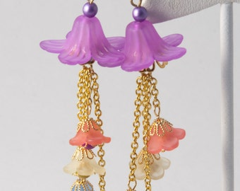 Acrylic Flower Earrings with Flower dangles
