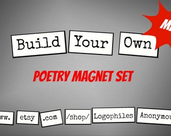 Mini Build-Your-Own Poetry Magnets - Refrigerator Word Quote Magnets