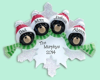 Black Bear Family of 4 on Snowflake Hand Painted RESIN Personalized Christmas Ornament