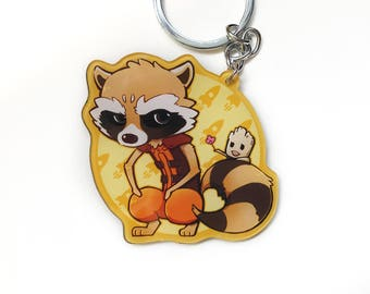 Rocket Raccoon / Baby Groot / Guardians of the Galaxy / Marvel / Keychain