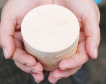 70 mm Round unfinished wooden box - with cover - natural, eco friendly - 70 mm diameter - B101-70