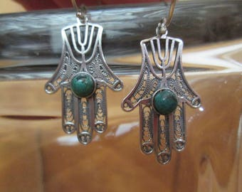 HAMSA Earrings, Hand of Fatima Filigree with Green Turquoise, Vintage Sterling Silver, Healing, Faith